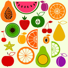 Colorful fruits in simple style