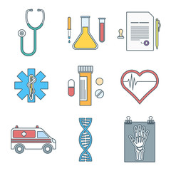 vector various color outline medical icons set