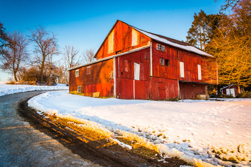 Red barn during the winter in rural York County, Pennsylvania.