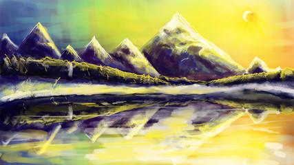 Aluminium Prints Yellow Winter landscape in cold and warm tones.