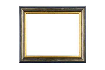 Gold frame isolated on white background with clipping path.