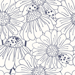Ladybug and daisy outline seamless pattern