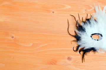 beautiful mask of feathers on a yellow board