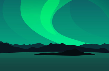 Northern Lights, Vector Landscape Illustration