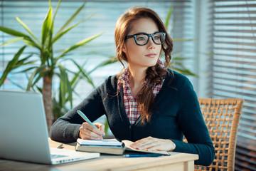 Pretty nerd girl studies