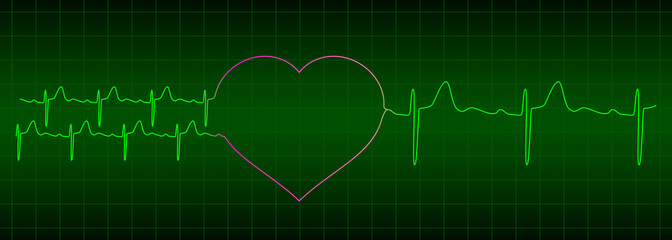 two ekg signals from two hearts after love is one heartbeat