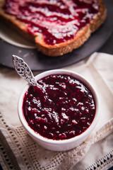 wild berry jam on slice of brown bread