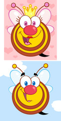 Funny Bees Cartoon Mascot Character. Collection Set