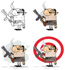 Smoking Gangster Holding A Submachine Gun. Collection Set