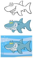 Happy Blue Shark Cartoon Character Flashing. Collection Set