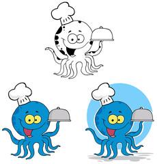 Octopus Chef Serving Food In A Sliver Platter. Collection Set