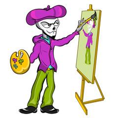 Skeleton Artist Painting