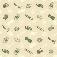pattern with sewing supplies