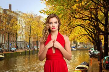 girl in red dress in Amsterdam.