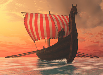 Viking Man and Longship