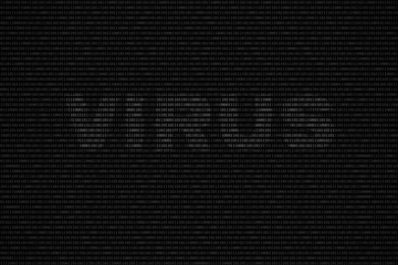 black and white binary computer code background, with word VIRUS