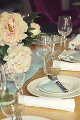 Close up of formal table setting