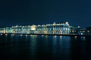 Night new year view of the Hermitage in St. Petersburg, Russia