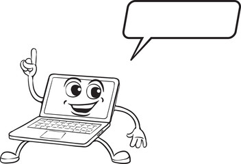coloring book - cartoon pointing laptop computer character