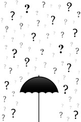 rain of questions on the open umbrella
