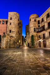 Ancient Roman Gate and Placa Nova in the Morning, Barcelona, Cat