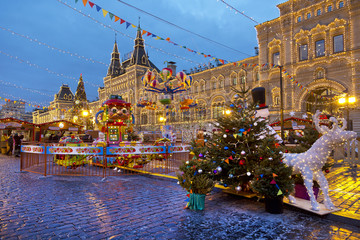 Christmas fair at the Red square in Moscow