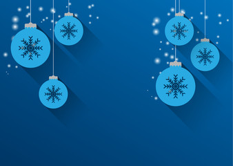 background with christmas balls and snowflakes, sparkles