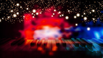 piano keys on bokeh colorful light