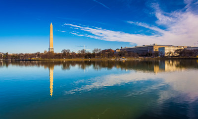 The Washington Monument reflecting in the Tidal Basin, Washingto