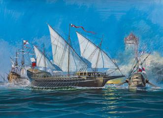 Battle of old sailing ships