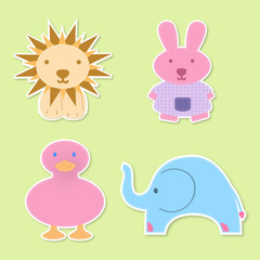 four baby animals , ideal for childs decoration