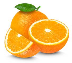 Fresh orange and slices isolated on white