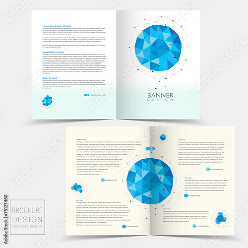 half fold brochure template with geometric blue crystal elements