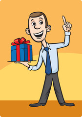 Businessman presenting gift and pointing finger
