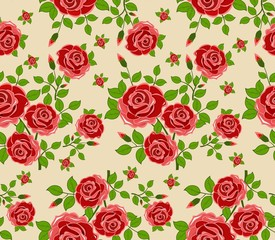 Beautiful seamless pattern with flowers on beige background.