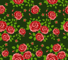 Beautiful seamless pattern with flowers on green background.