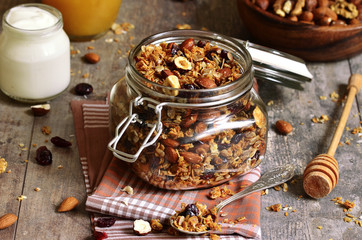 Granola in a glass jar.
