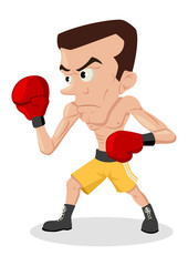 Cartoon illustration of a skinny boxer