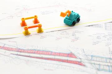 土木建設図面とおもちゃ