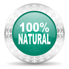 natural green icon, christmas button, 100 percent natural sign