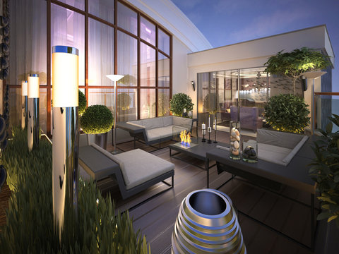 roof - terrace in a modern style