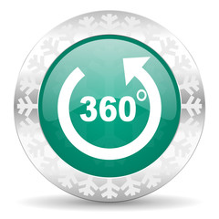 panorama green icon, christmas button