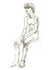 Academic figure drawing young boys. Hand-drawing in pencil