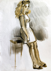 Sketch of a female figure. Hand-drawing in gouache