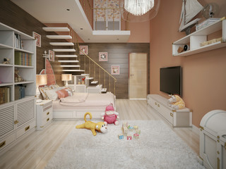 Girls bedroom in classic style