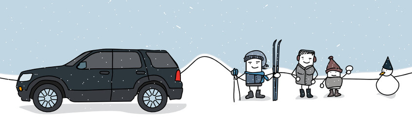 famille sous la neige