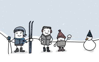 famille sous la neige ciel bleu