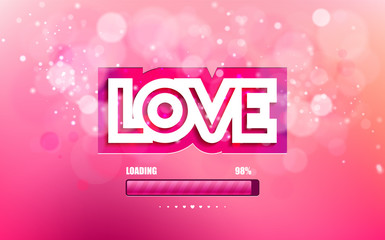 Vector wight inscription love cut on a pink background