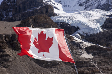 Wall Mural - Canadian Flag Near Mount Andromeda