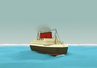 Rendered 3d Ocean Liner on the Open Seas